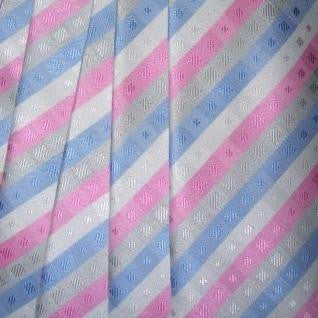 Pink, Light Blue, Grey, White Striped Necktie With Textured Squares