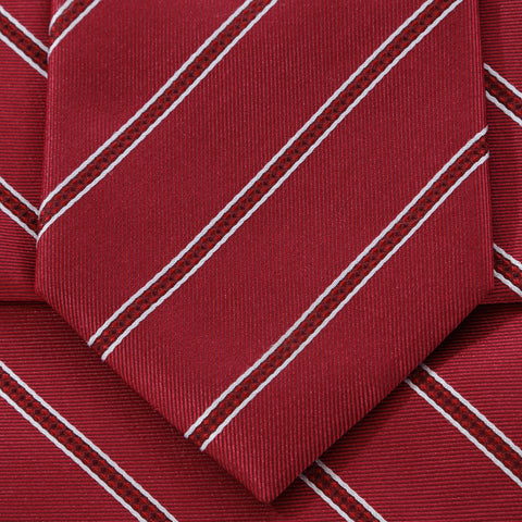 Power Play - Red Necktie with Red and White Stripes