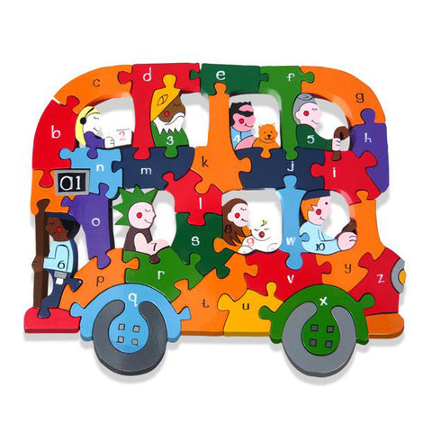 Bus Alphabet Wooden Jigsaw Puzzle