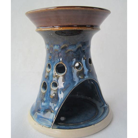 The Caspian Blue Oil Burner by Castle Arch Pottery