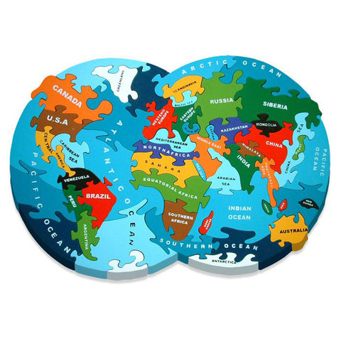 Map of The World Wooden Jigsaw Puzzle