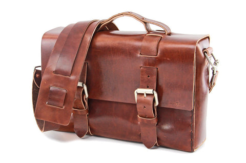No. 4313 - Minimalist Standard Leather Satchel in Havana Brown