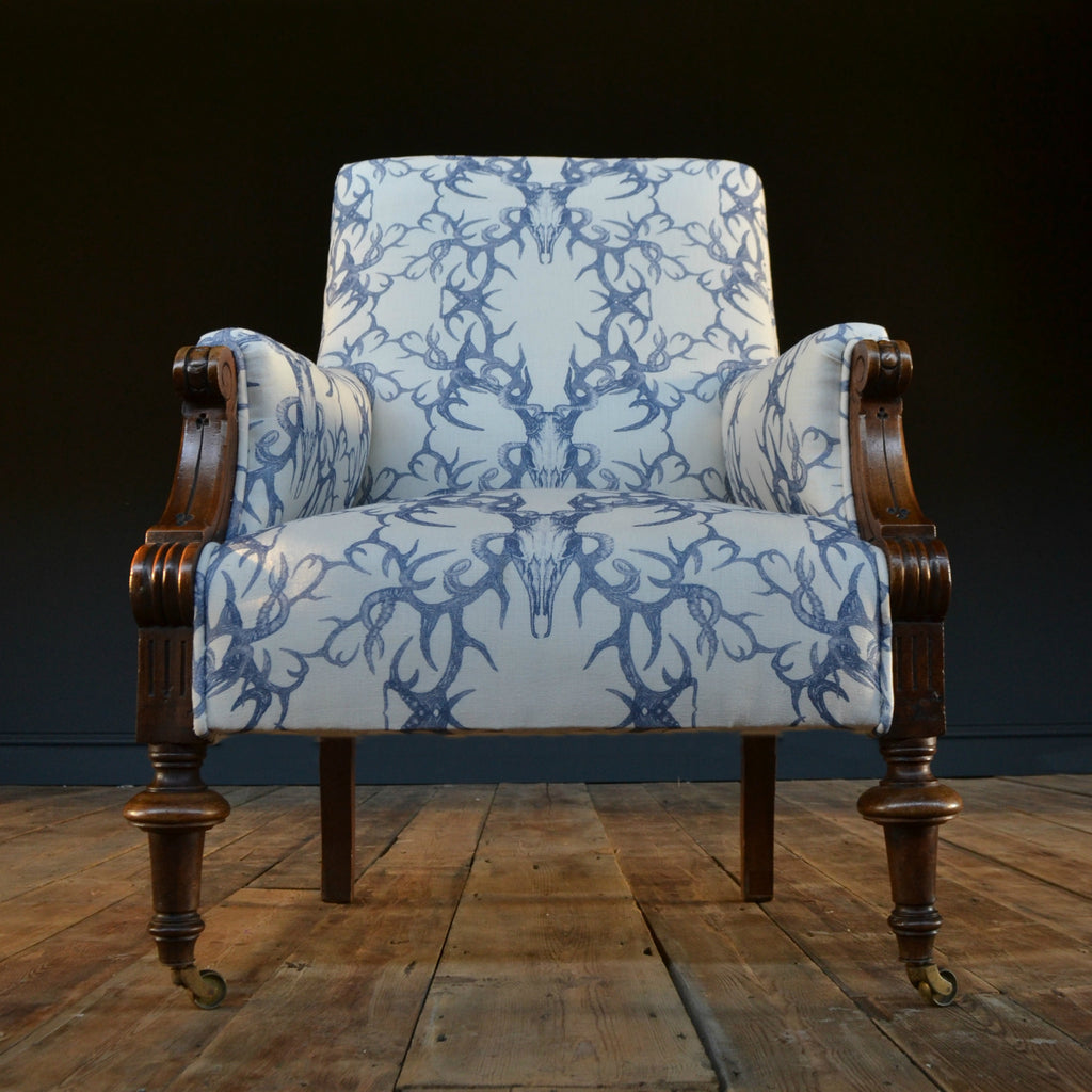 Handsome 19th Century Napoleon III Gothic Revival Library Chair - Winter's Bone.