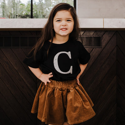 Girls Monogram T-Shirt - Black with Silver Sequin | Branche Online Store | Melbourne