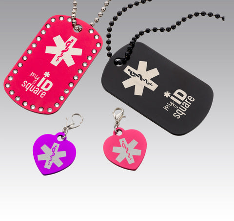 "Custom Engraved ""snap-on"" bracelet charms and dog tags"