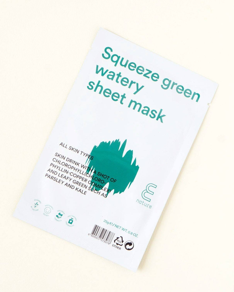 ENATURE Squeeze Green Watery Sheet Mask, skincare, skin care, clean beauty