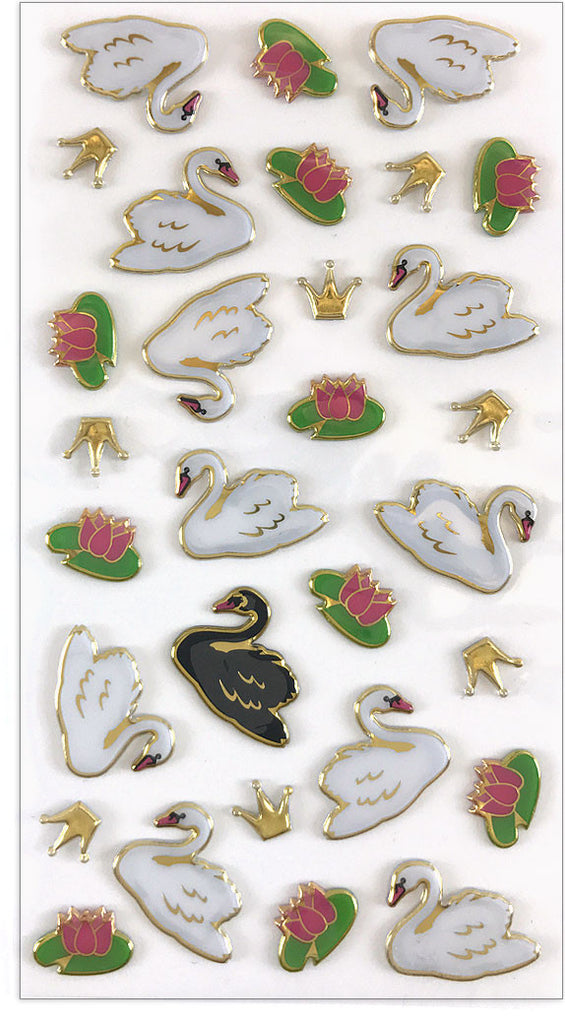 Puffies, Royal swans, sticker, Mrs. Grossman's Stickers