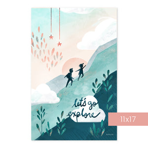 Let's Go Explore | Art Print Room Decor