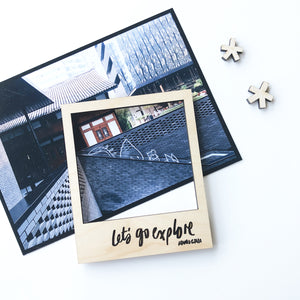 Let's Go Explore diy polaroid magnet wooden frame set photo example