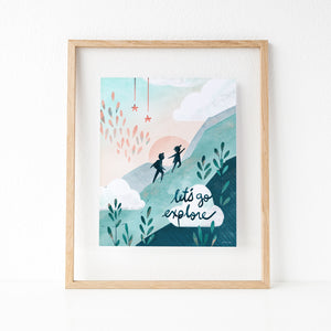 Inspirational Let's Go Explore boy and girl explorers framed print
