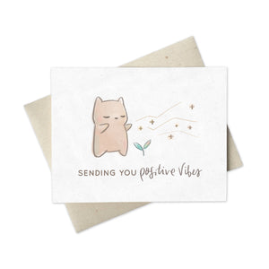 Cute greeting card of Hamstarcat  giving off Positive Vibes
