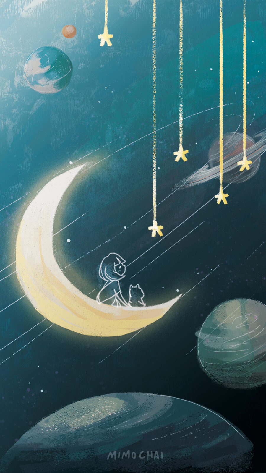 Free Emme & Hamstarcat Whimsical Space Mobile Wallpaper for iPhone example