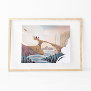 Framed Inspirational nature illustration of girl and boy adventuring across bridge over river, from Let's Go Explore by Mimochai (Pass Through the Clouds print)