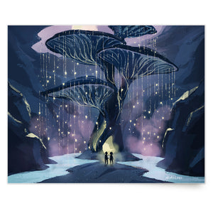 Inspirational nature art print illustration of big tree mushroom, from Let's Go Explore by Mimochai