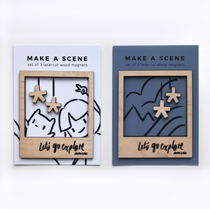 Let's Go Explore diy polaroid magnet wooden frame set packaged