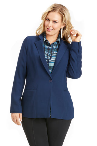 PLUS SIZE NAVY STANDING COLLAR BLAZER