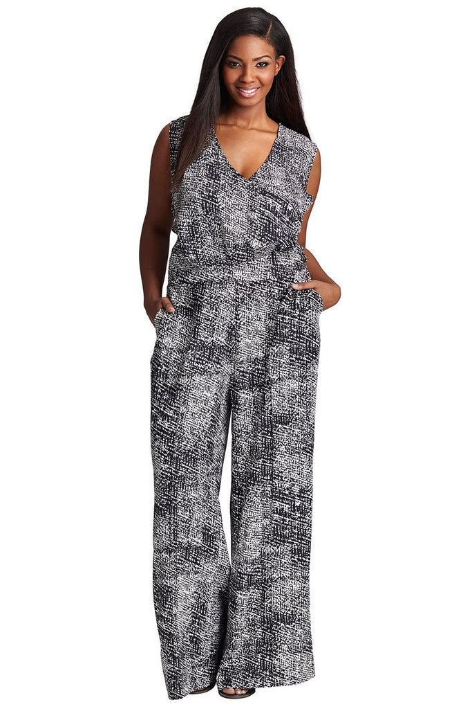 PLUS SIZE BOUCLE PRINT SLEEVELESS JUMPSUIT