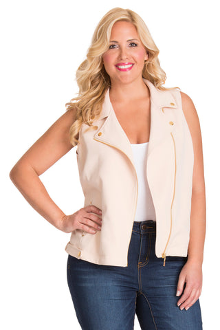 PLUS SIZE CREAM MOTO VEST
