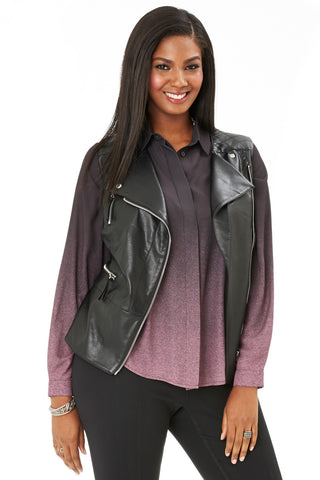 PLUS SIZE FAUX LEATHER MOTO VEST