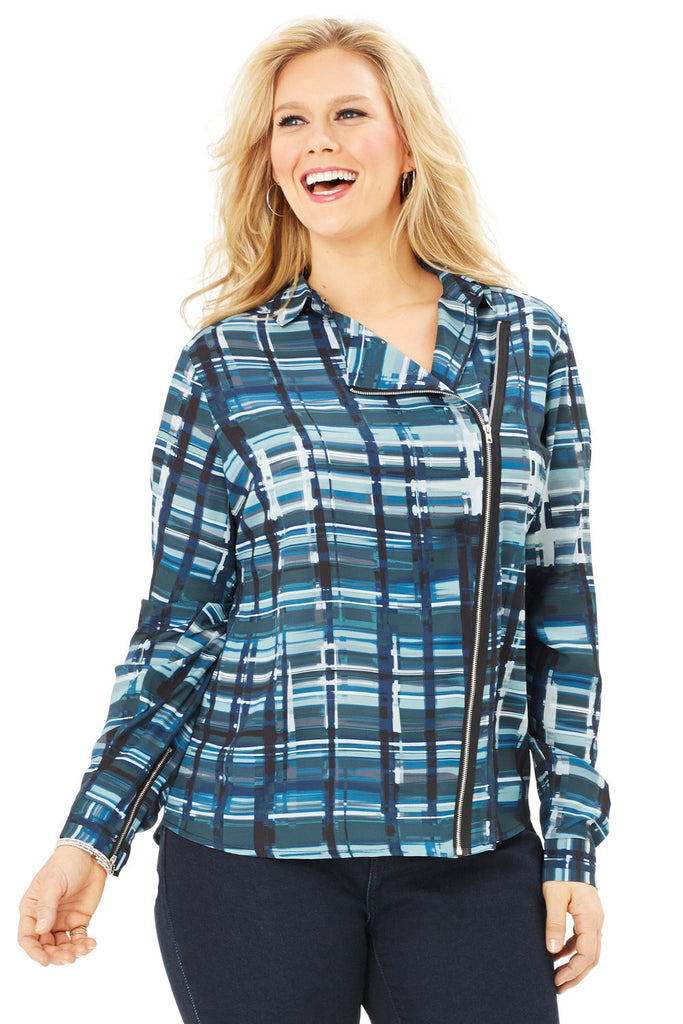 PLUS SIZE MOTO BLOUSE IN GREEN PLAID