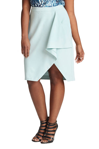 PLUS SIZE LIGHT BLUE DRAPE SKIRT