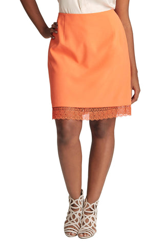 PLUS SIZE ORANGE LACE HEM SKIRT