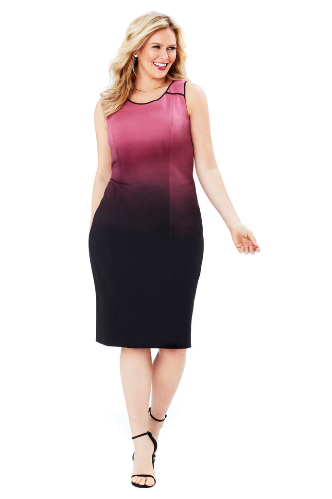 PLUS SIZE OMBRE PRINT DRESS IN ROSE