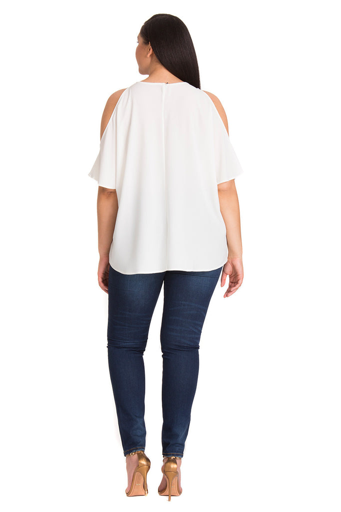 Curvy Cold Shoulder Blouse in White