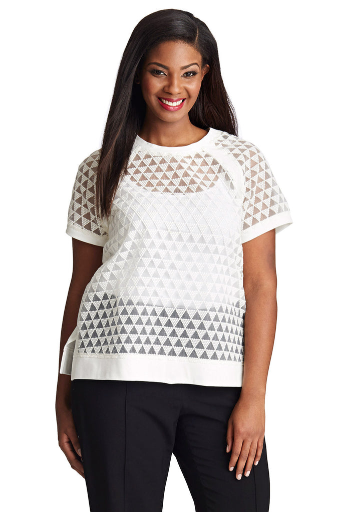 PLUS SIZE SHEER SWEATSHIRT IN WHITE