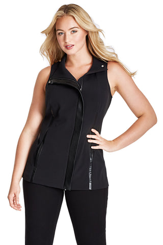 PLUS SIZE ZIPPERED VEST