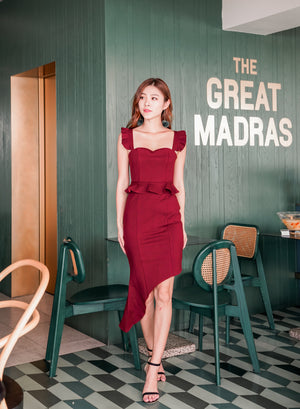* PREMIUM * Penilia Assymetrical Peplum Dress in Burgundy - Self Manufactured by LBRLABEL