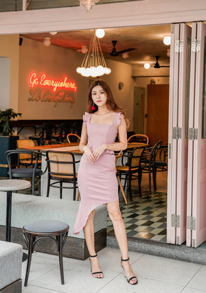 * PREMIUM * Penilia Assymetrical Peplum Dress in Pink - Self Manufactured by LBRLABEL