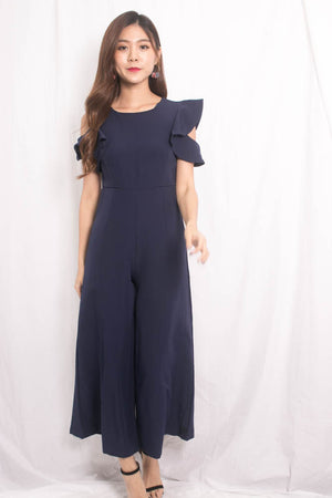 Nedrila Sleeved Flutter Jumpsuit in Navy