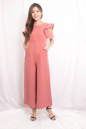 Nedrila Sleeved Flutter Jumpsuit in Blush