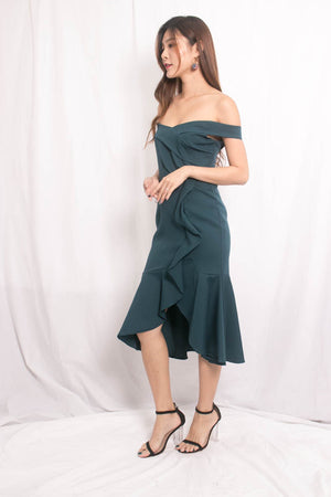 Cherlyn Flutter Offsie Dress in Teal