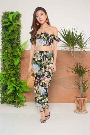 Raina Floral Flutter 2 Piece Set in Black