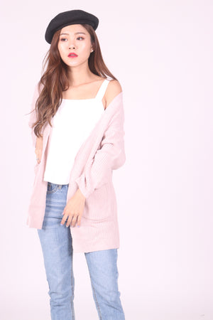 Aela Knit Cardigan in Pink