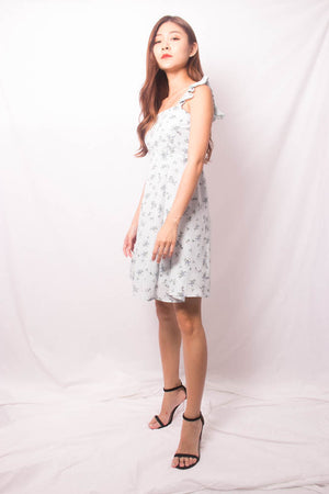 * PREMIUM * FEALIA TWO WAYS FLORAL DRESS IN BLUE - SELF MANUFACTURED BY LBRLABEL