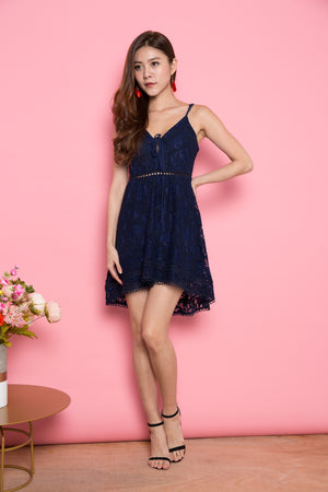 Annabella Crochet Dress in Navy