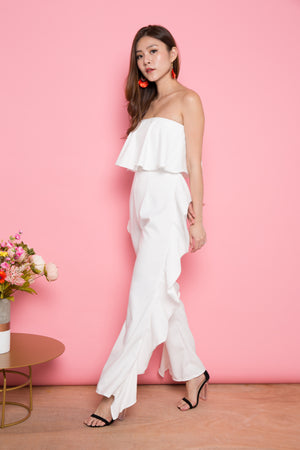 LUXE - Flutter All Hearts Bustier Jumpsuit in White