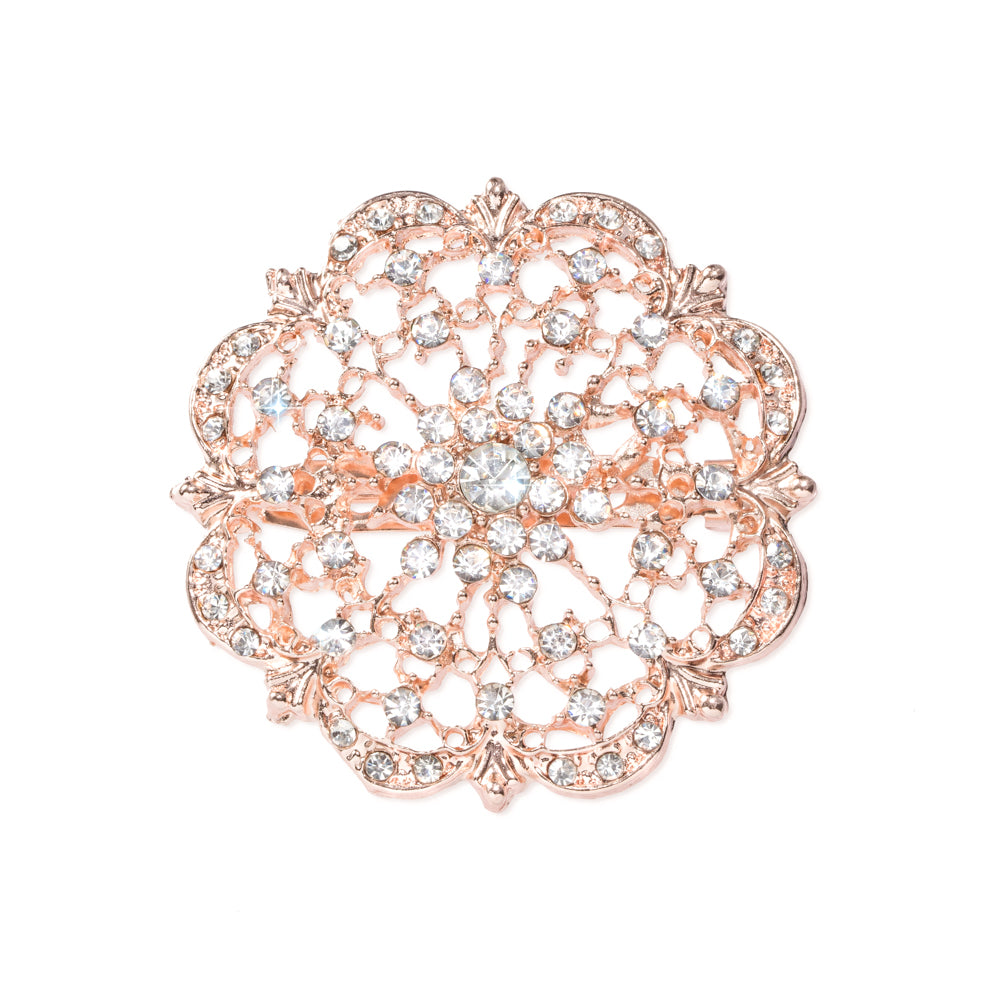 ROSE GOLD DIAMANTE FLOWER BROOCHES