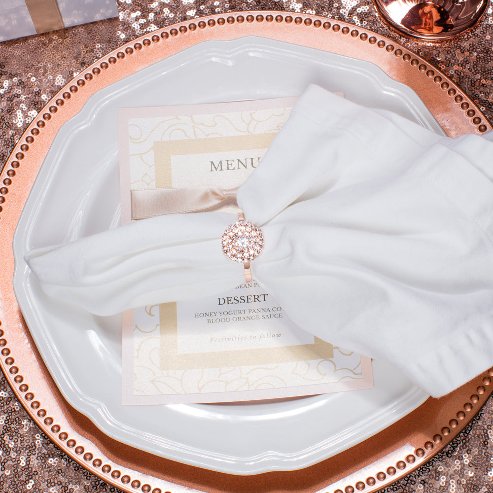 ROSE GOLD FLORAL RHINESTONE NAPKIN RING