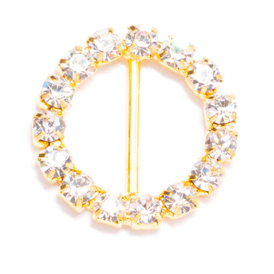 GOLD RHINESTONE CIRCLE BUCKLE