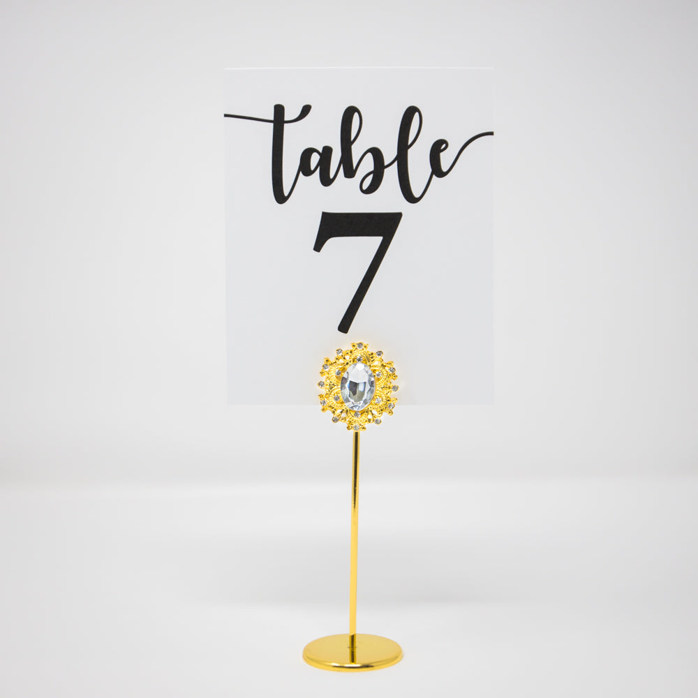Gold Crystal Table Number Stand 323-G-S