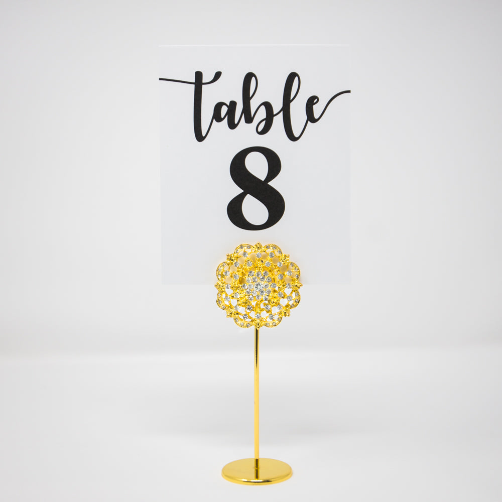 Gold Diamante Table Number Stand 412-G-S