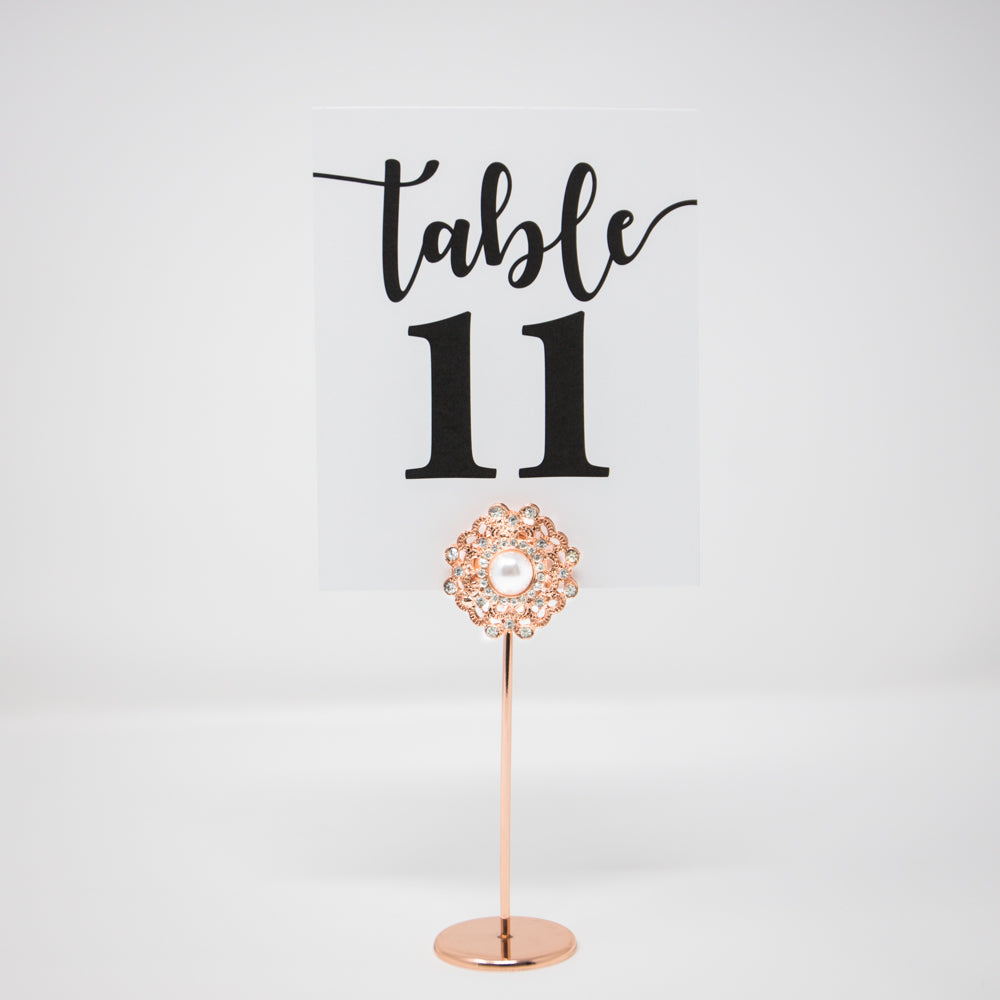 Rose Gold Rhinestone Table Number Stand