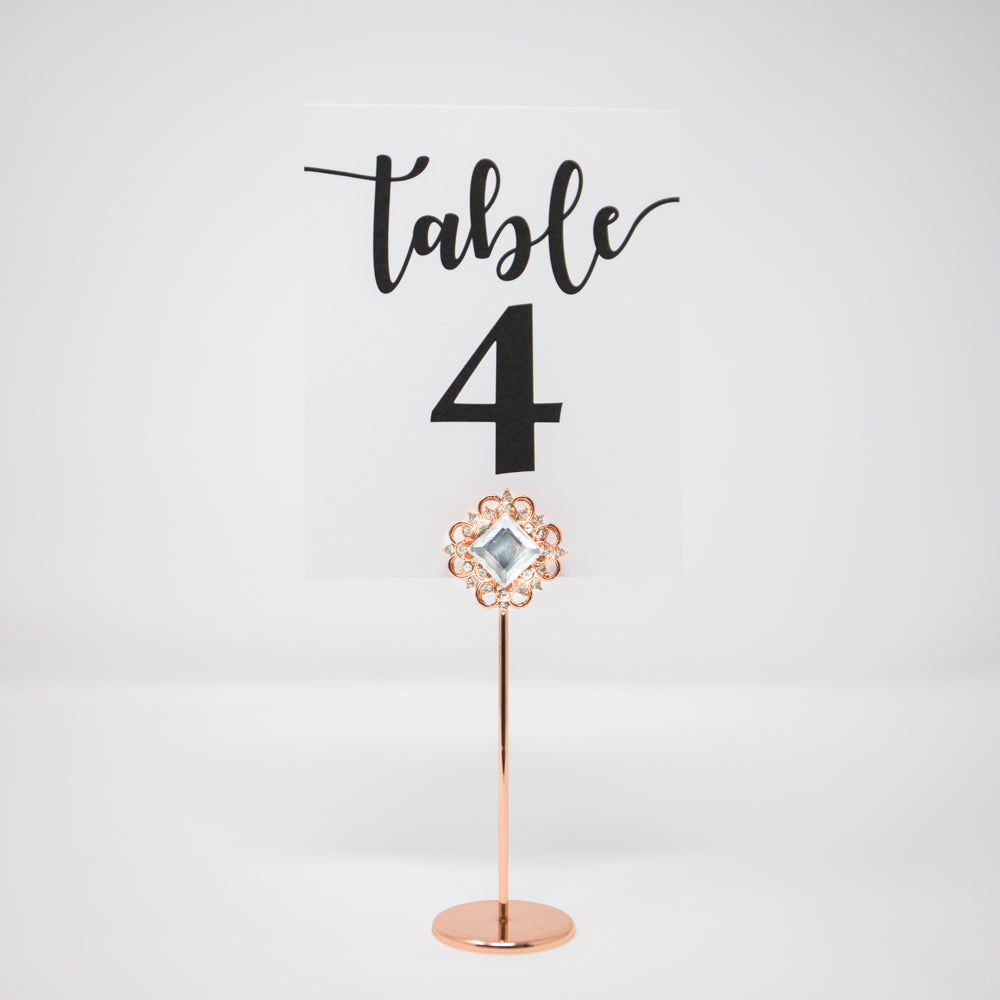 Rose Gold Wedding Table Number Holder 322-R-S