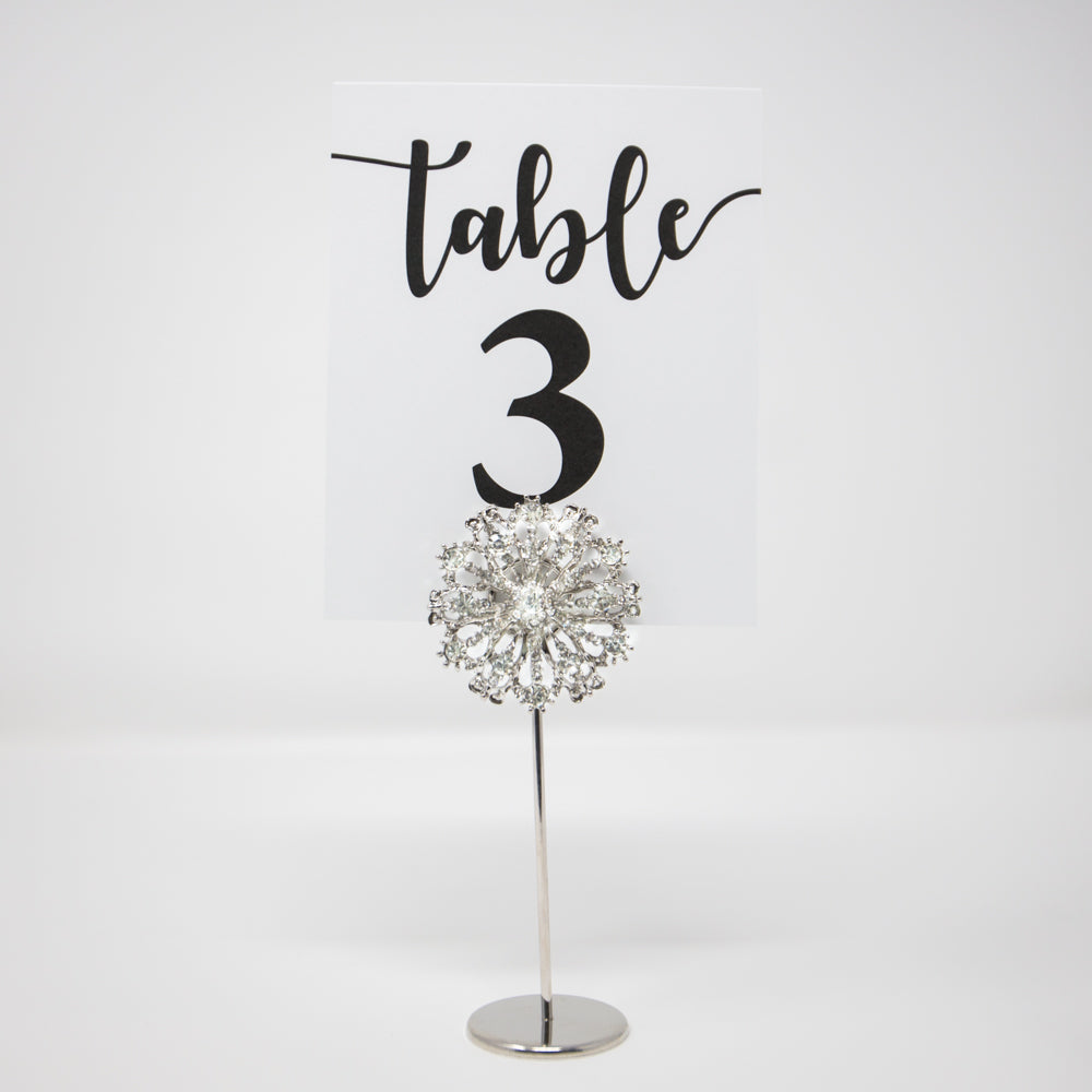 Silver Starburst Wedding Table Number Holders 407-S-S