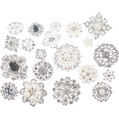 10 Piece Mixed Pack Silver with Pearl and Clear Rhinestone (10pcs/pkg)