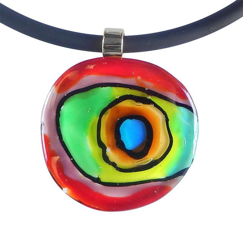 ABSTRACT multicolor modern art to wear murano glass statement necklaces on rubber tubino cords, handmade in Italy, inspired by artist Mark Rothko